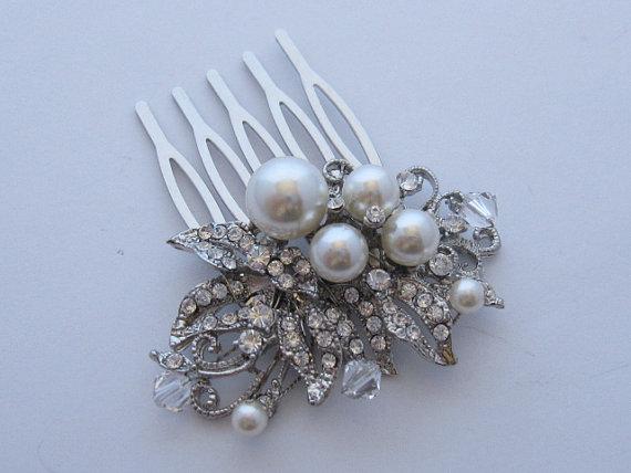 Mariage - Wedding hair comb bridal hair accessory wedding headpiece bridal hair comb wedding hair jewelry bridal hair jewelry wedding comb pearl