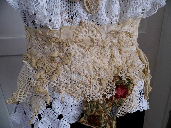 Mariage - Romantic fairy rose, the touch of love, belt, sash, vintage style, upcycled lace and crochet,GOT style, lace belt, embroidery, shabby chic