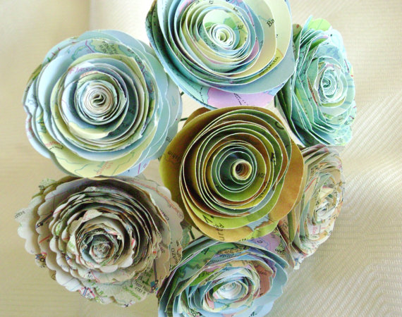 """Hochzeit - Vintage map 2 to 2 1/4"""" atlas spiral rolled  paper roses wedding bouquet destination wedding farnhouse country recyled flowers"""
