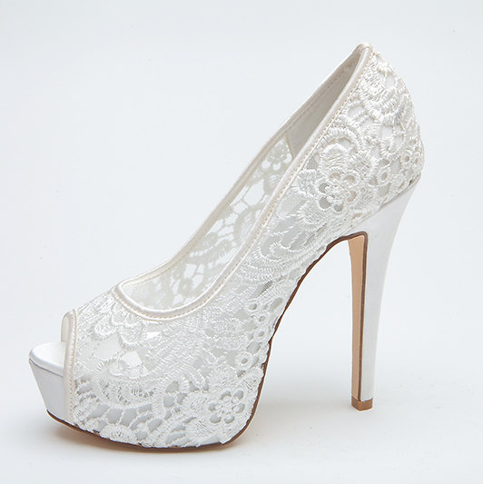 Mariage - Sexy see through lace bridal wedding shoes platform peep open toe party prom pumps , white pink lace high heels