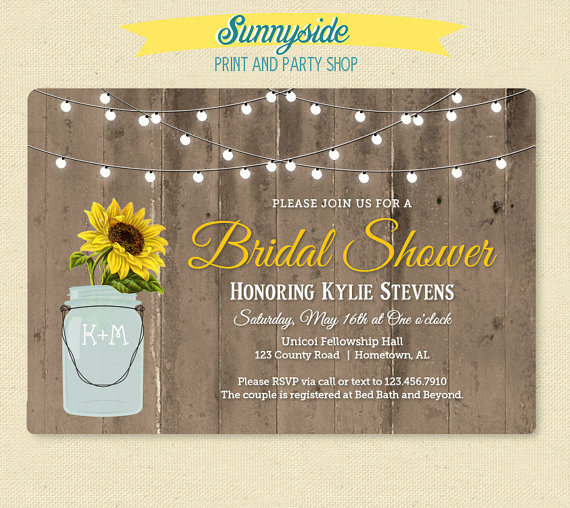 Mariage - Rustic Sunflower in Jar Shower Invitation - Country Bridal Shower Invitation - Wood Barn & Lights Shower Invite