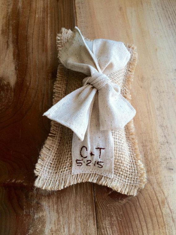 Wedding - Personalized Burlap Ring Bearer Pillow With Natural Cotton Ribbon & Bow- Rectangle Shape- 2 Sizes- Wedding Ceremony-Rustic/Shabby Chic