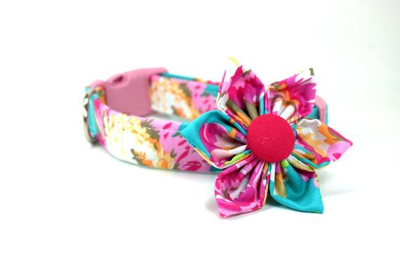 Mariage - Pink Dahlia Dog Collar and Removable Collar Flower Set / Girl Dog Collar / Collar Flower / Summer Dog Collar