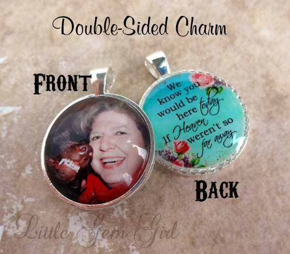 Mariage - Double Sided Wedding Bouquet Custom Photo Charm - Custom Picture Wedding Charm - Heaven Poem on Back - In Memory