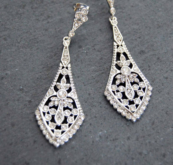 Bridal Chandelier Earring Rhinestone Earrings Wedding Jewelry Crystal Art Deco Vintage