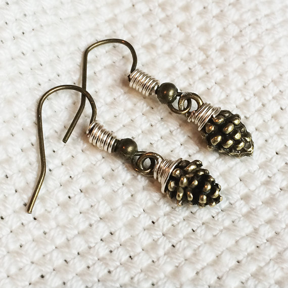 Hochzeit - Wire Wrapped Bronze Pinecone Earrings ~  Woodland Nature Jewelry ~ Pinecone Charm