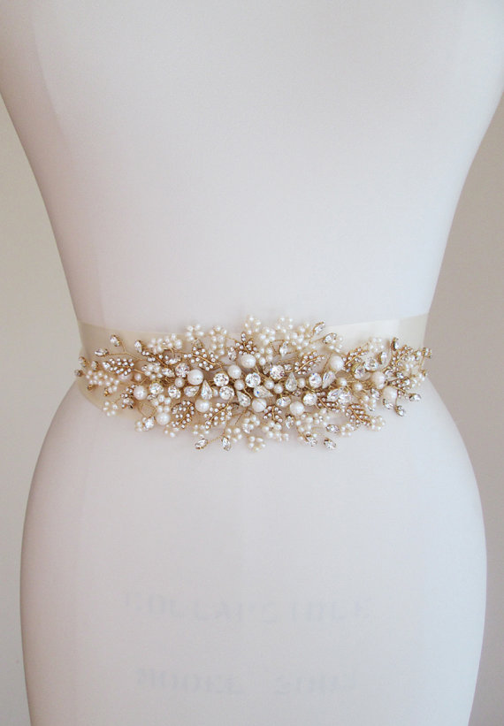 Exquisite Crystal Belt Sash Bridal Swarovski Wedding And Pearl Floral Gold