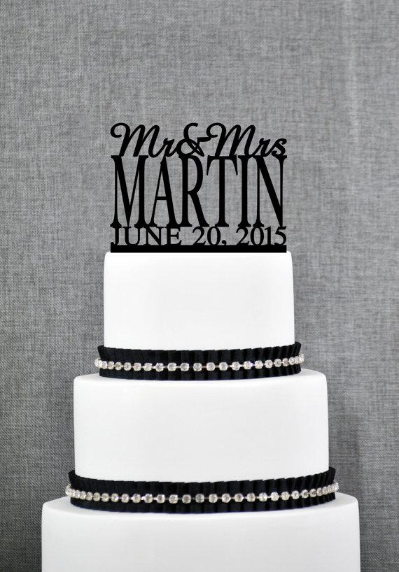 Mariage - Mr and Mrs Cake Topper with Date, Personalized Last Name Wedding Cake Topper, Custom Cake Topper, Elegant Wedding Topper (S003)