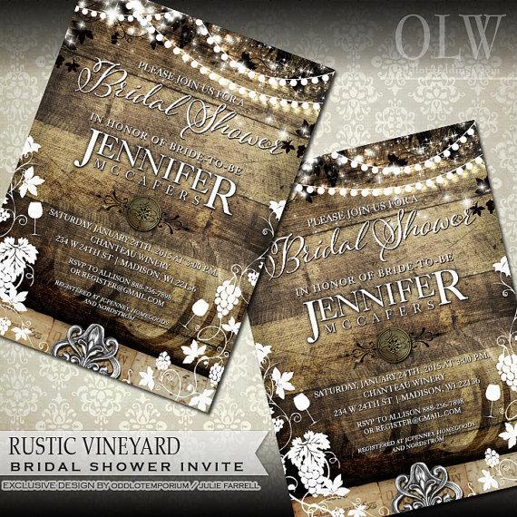 Mariage - Rustic Vineyard Bridal Shower Invitation