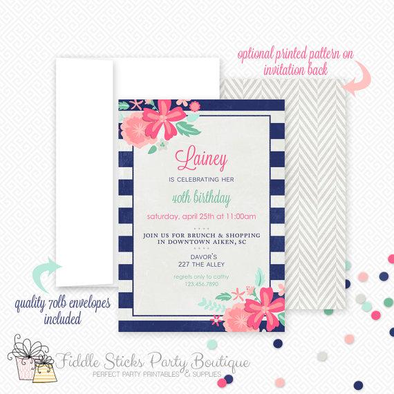 Mariage - wePrint~ Navy Floral Invitation- Striped~ Birthday Invitation~ Baby Shower Invitation~ Wedding Invitation~ Printed & Shipped