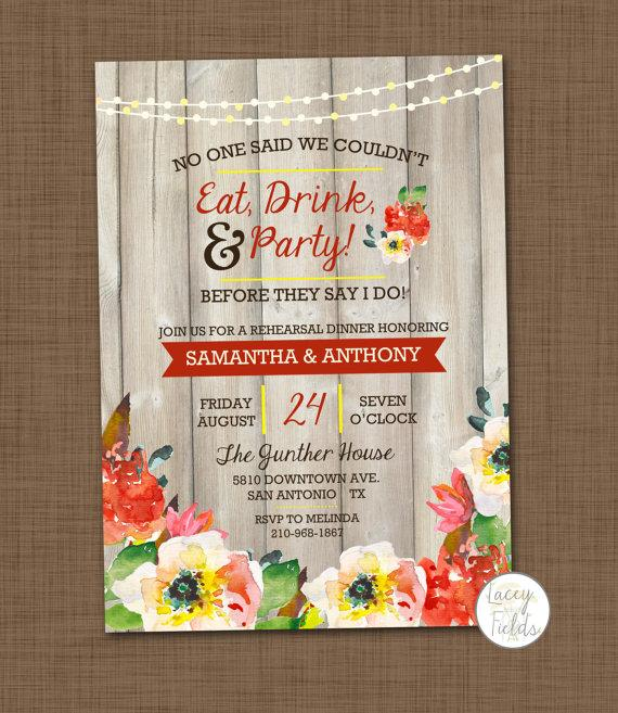 Mariage - Rustic rehearsal dinner invitation printable Eat drink and be married BBQ rehearsal dinner Wood Watercolor Funny rehearsal dinner I do BBQ