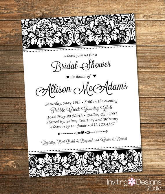 Mariage - Elegant Bridal Shower Invitation, Wedding Shower Invitation, Damask, Black, White, Formal, Floral (PRINTABLE FILE)