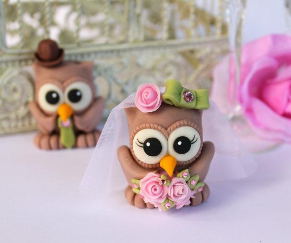 Mariage - Love birds owl wedding cake topper, owl love you forever - custom bird cake topper with banner