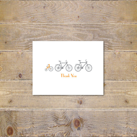 Mariage - Printable Baby Shower Thank You Cards, Baby Shower Cards, Baby Thank You Cards, Bikes, Template, Digital File, Instant Download, DIY