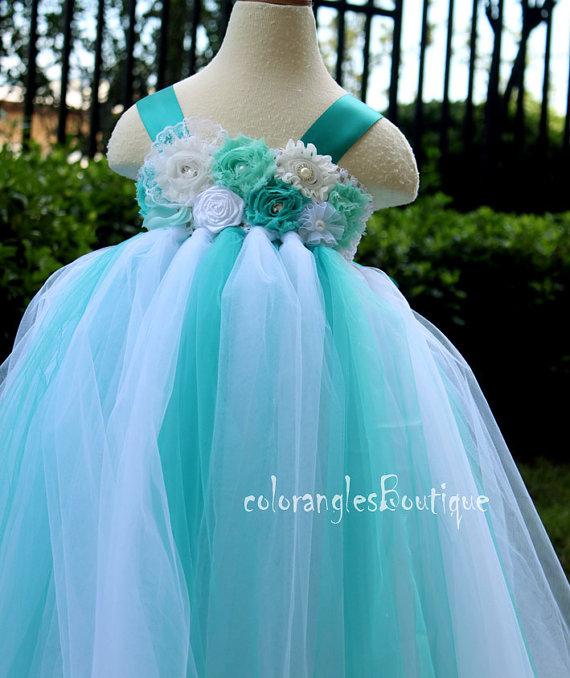 Mariage - Flower Girl Dress Jade tutu dress baby dress toddler birthday dress wedding dress 1T 2T 3T 4T 5T 6T- 9T