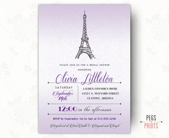 Purple paris bridal shower invitation parisian wedding baby shower purple paris bridal shower invitation parisian wedding baby shower birthday invite printable filmwisefo