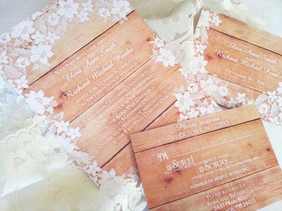 Mariage - Wedding invitations elegant rustic romantic lace - WOOD LACE INVITATIONS