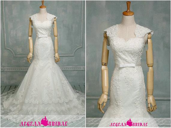 زفاف - RW634 Lace Wedding Dress with Beading,Mermaid Bridal Gown with Cap Sleeve,Sweetheart Bridal Dress with Belt,Long Summer Wedding Gown