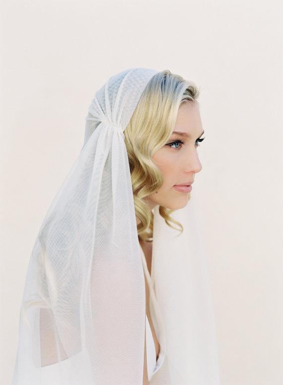 Wedding - Juliet Cap Veil, Ivory Wedding Veil, English Net Bridal Veil, Soft Drape Veil, Style #1108