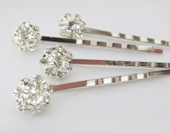 Свадьба - Wedding Rhinestone Hair Pins, Silver Crystal Hair Pins, Bridal Hair Pins, Wedding Hair Accessories, Bridal Hair Jewlery