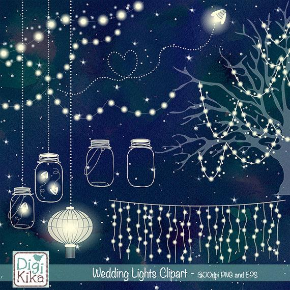 Mariage - 50% OFF Wedding Lights Clip Art - Vector String Lights, Firefly Clipart, Wedding Party Lights, Lantern Lights EPS - Instant Download
