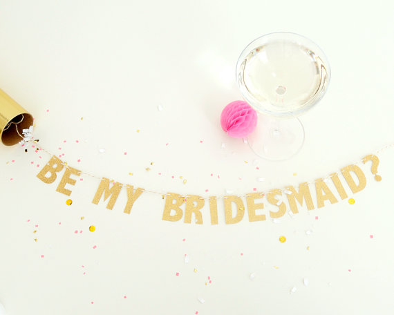 Wedding - mini will you be my bridesmaid? gold glitter banner card