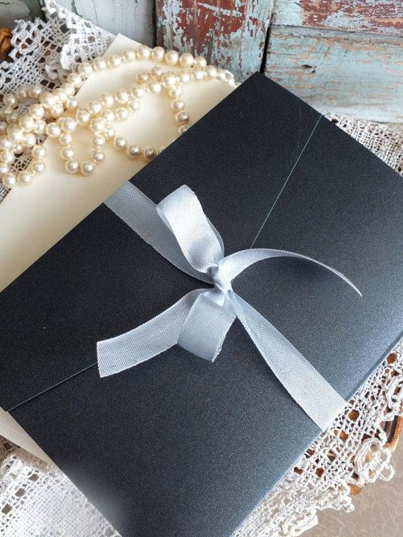 Mariage - Vintage Romantic Elegant Wedding Invitation Handmade SAMPLE by avintageobsession on etsy