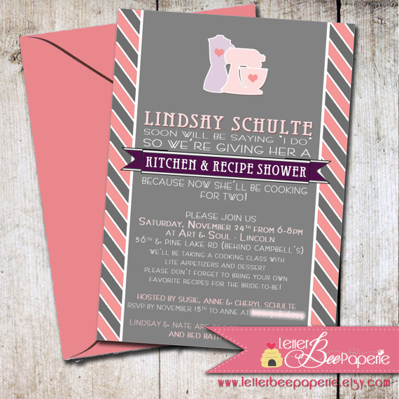 Wedding - Bridal / Recipe Shower Invitation - Custom Order to Match the Bride's Colors - DIY Printable Invite - Wedding, Kitchen Shower, Exchange