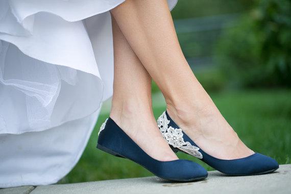 Wedding - Wedding Shoes - Navy Blue Bridal Ballet Flats/Navy Flats, Wedding Flats, Navy Satin Flats with Ivory Lace. US Size 9
