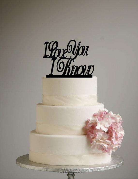 Mariage - Star Wars Inspired Wedding Cake Topper - I Love you I Know - Han Solo - Princess Leia - Han & Leia - love you i know