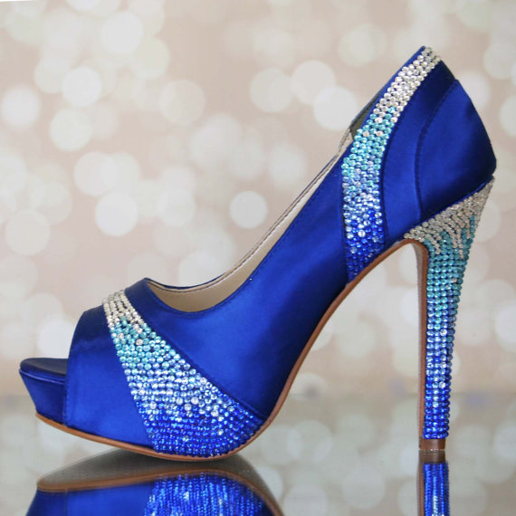 Wedding - Wedding Shoes -- Royal Blue Platform Peep Toes with Blue Crystal Ombre Heel and Pleats