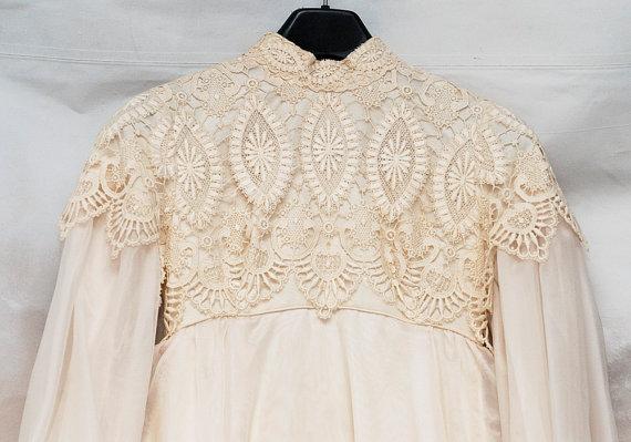 Wedding - SALE! Edwardian Dress, Size 4-6 Dress, Lace Wedding Gown, Empire Waist Gown, 1970's Wedding Dress, Dress Train Veil
