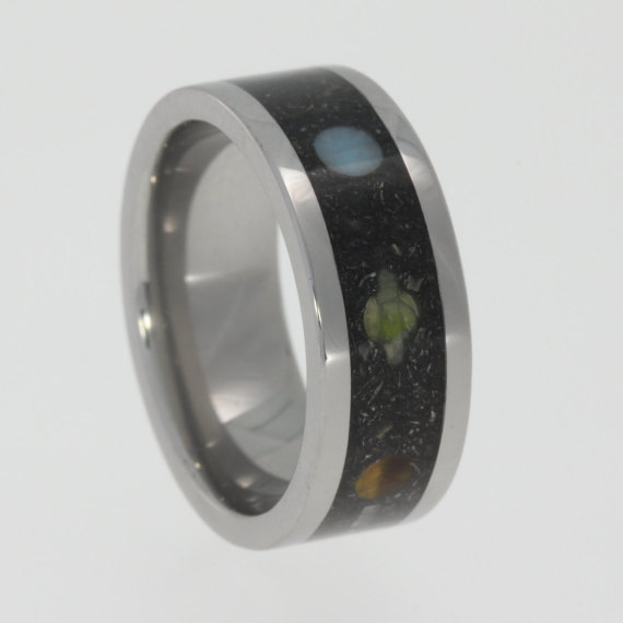 Mariage - Meteorite Composition Star Ring, Gibeon Meteorite Ring with Planet Gemstones, Stardust Ring