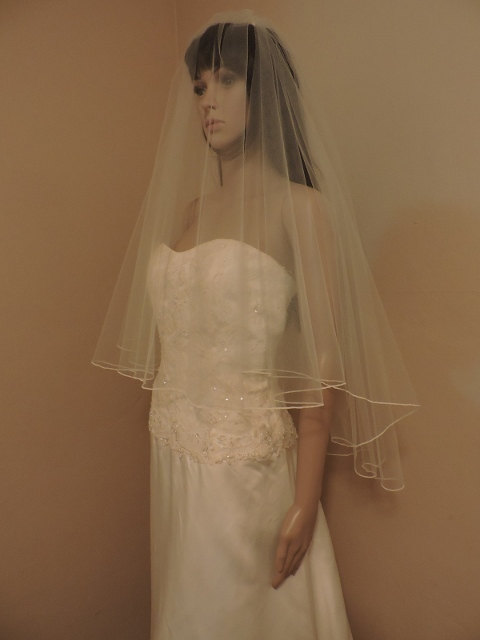 Wedding - Wedding Veil  Drop Veil Double Tier Rolled Edge DVG30/36RE