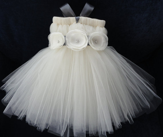 Свадьба - Charcoal Grey Ivory Flower Girl Dress