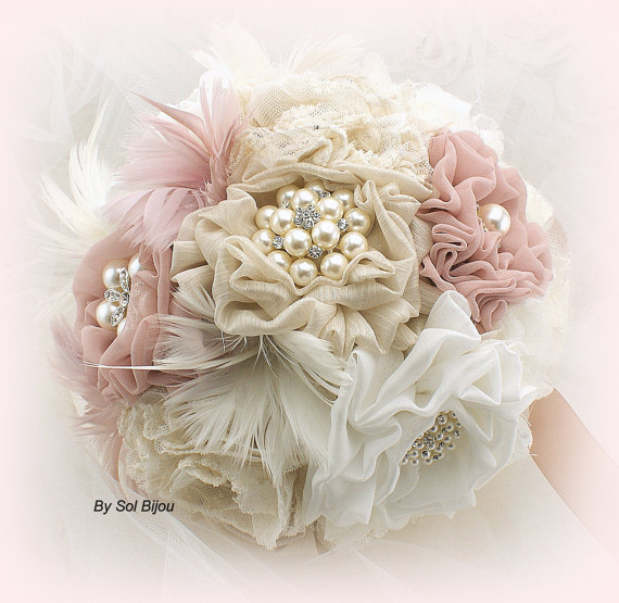 Wedding - Brooch Bouquet, Jeweled Bouquet in Ivory and Blush with Linen, Lace, Pearls and Feathers- Vintage Wedding