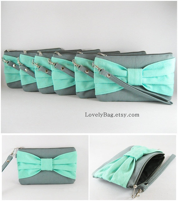 Wedding - Bridal Clutches, Bridesmaid Clutch, Wedding Gift - Set of 2 Gray with Mint Bow - Made To Order
