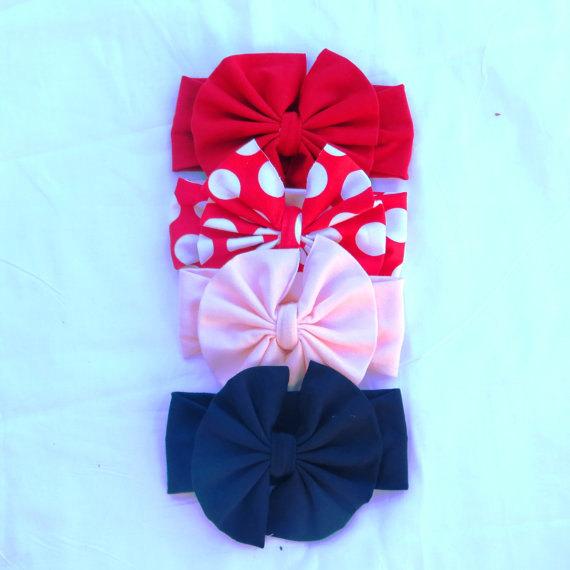 Свадьба - Big Bow Headband,LIttle Girls Head wrap,Girl Turban,Baby Boho headband,Easter Baby, Black and White Head wrap,Red Christmas,Birthday,photo