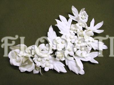 Wedding - Pure White Rose and Field Flower Couture Bridal Headwear Veil Accessory