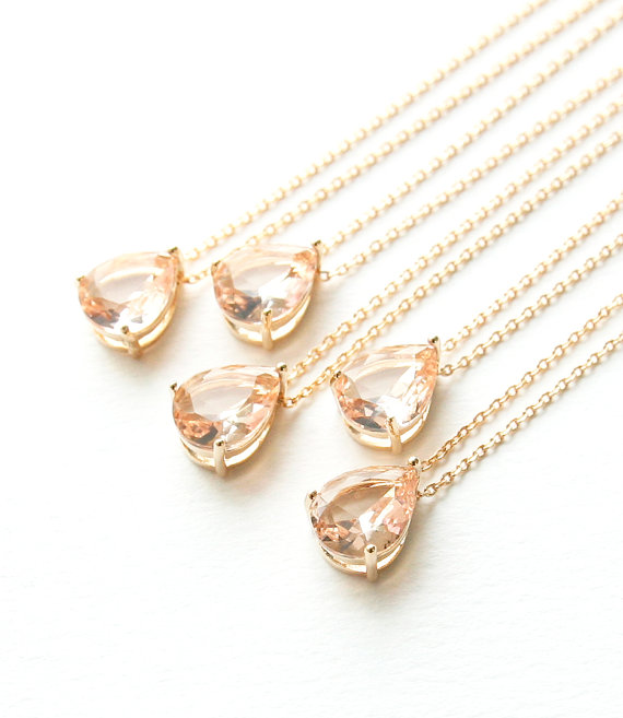 Wedding - Set of 6, 7 Bridesmaid Gifts, Peach Stone Necklace, Bridesmaids gift, Wedding Jewelry, Dainty Jewelry, Gift Necklace, Champagne Gold,