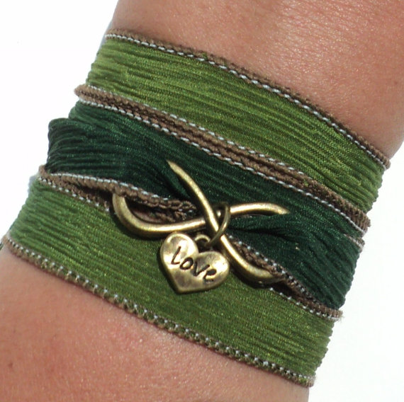 Свадьба - Infinity Love Silk Wrap Bracelet Yoga Jewelry Eternity Forever Heart Wedding Anniversary Bride Stocking Stuffer Yogi Gift M79