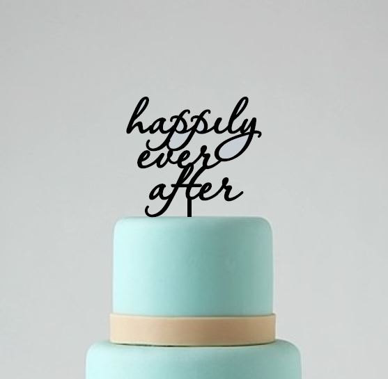 Mariage - Happily ever after wedding cake topper, cake decoration