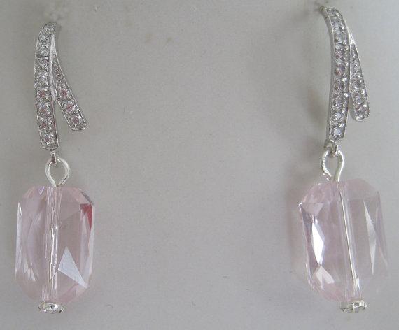 Mariage - Bridesmaids Earrings Emerald cut Swarvoski Light Rose Crystal Earrings -Bridal Accessories-Wedding Jewelry- Sterling Silver earrubgs