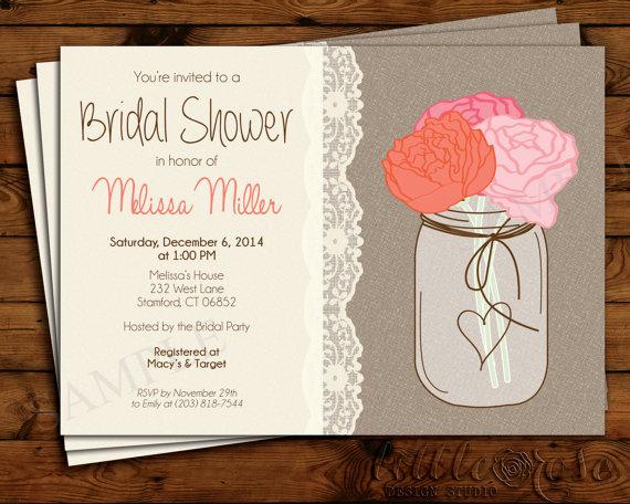 Mariage - Bridal Shower Invitation - Wedding Shower Invite - Bridal Brunch - Mason Jar Invitation - Burlap - Baby Shower - Birthday- Printable Invite