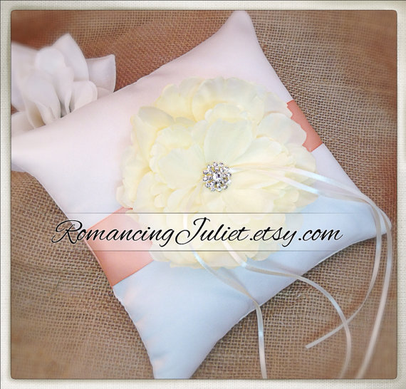 Hochzeit - Romantic Bloom Ring Bearer Pillow with Crystal Rhinestone Accents..shown in ivory/coral peach