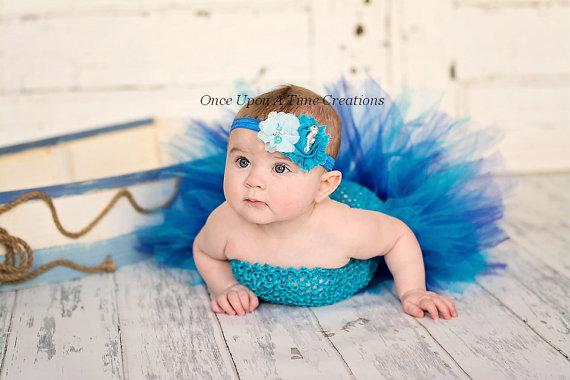Свадьба - Under The Sea Seahorse Headband - Newborn Baby Hairbow - Little Girls Hair Bow - Turquoise and Aqua Blue - Toddler Costume Hair Piece