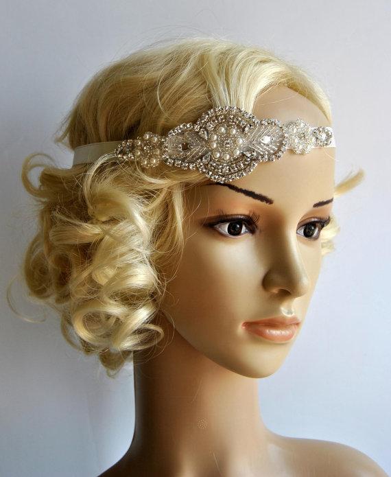 Mariage - Crystal Pearls Rhinestone , flapper Gatsby Headband, Wedding Headband, Wedding Headpiece, Halo Bridal Headpiece, 1920s Flapper headband