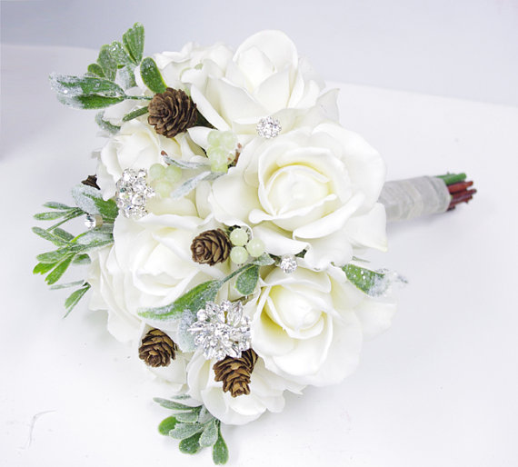Свадьба - Christmas White Silk Brooch Wedding Bouquet - Natural Touch Roses and Brooch Jewel Bride Bouquet - Rhinestones