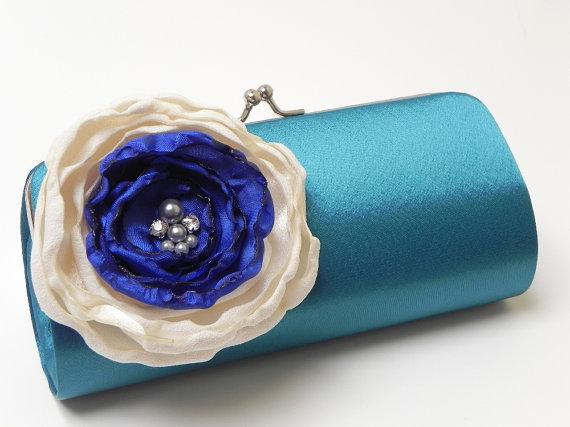 Свадьба - Wedding Bridesmaid Clutch Teal Royal Blue Ivory -  Bridal Clutch - Rhinestones and Pearls  - Something Blue Bridal Clutch