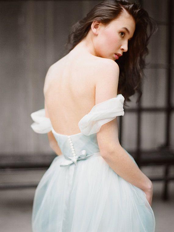 Arsenia Grey Tulle Wedding Dress